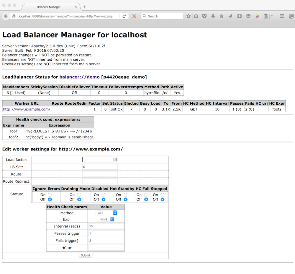 balancer-manager page